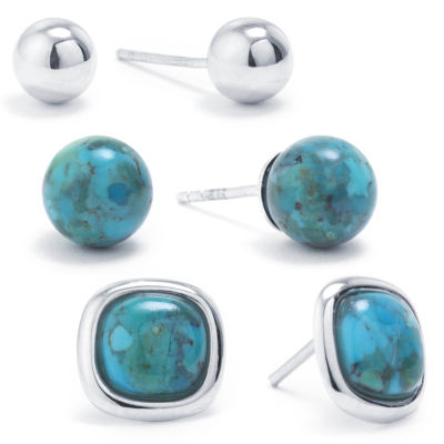 3 Pair Green Turquoise Sterling Silver Earring Set