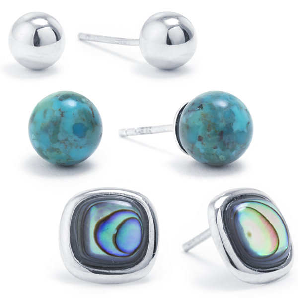 3 Pair Green Abalone Sterling Silver Earring Sets
