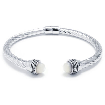 White Mother Of Pearl Sterling Silver Bangle Bracelet