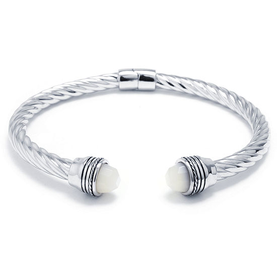 White Mother Of Pearl Bangle Bracelet