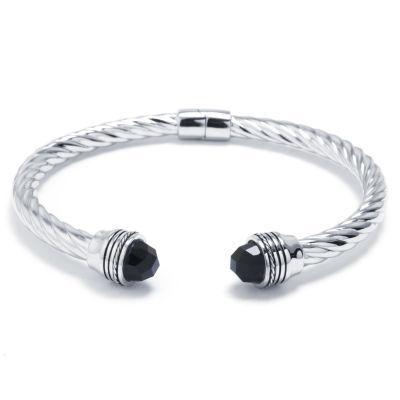 Black Onyx Sterling Silver Bangle Bracelet