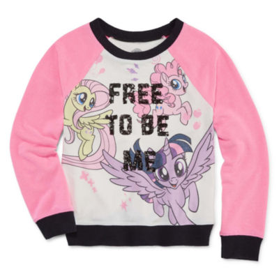 Crew Neck Long Sleeve Raglan Sleeve My Little Pony Blouse - Big Kid Girls
