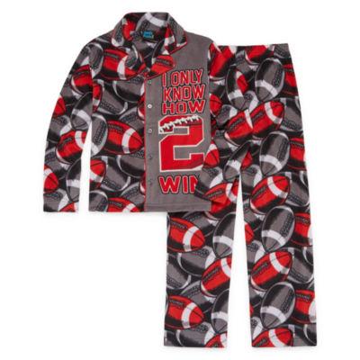 Football Print Coat Front Pajama Set - Boys 4-20