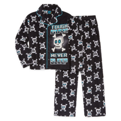 Skull Print Coat Front Pajama Set - Boys 4-20