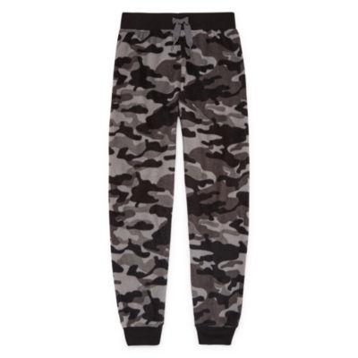 Gray Camo Microfleece Jogger Sleep Pant - Boys 4-20