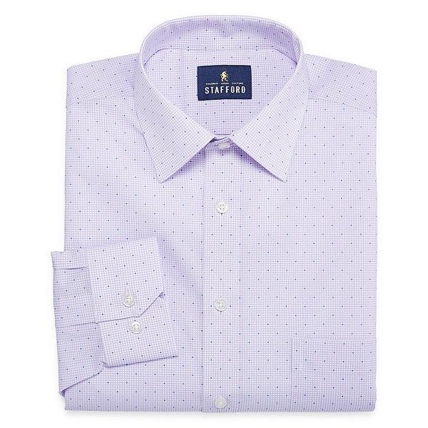 Stafford travel stretch fashion long sleeve broadcloth for Stafford big and tall shirts