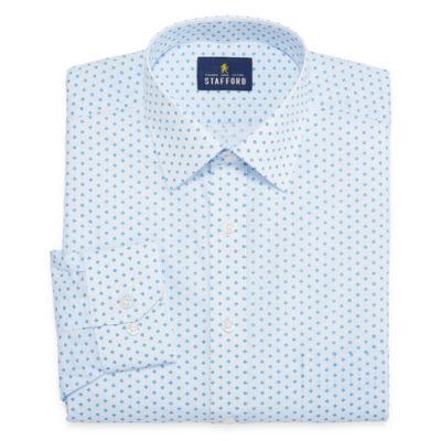 Stafford Travel Stretch Fashion Mens Spread Collar Long Sleeve Wrinkle Free Stretch Dress Shirt