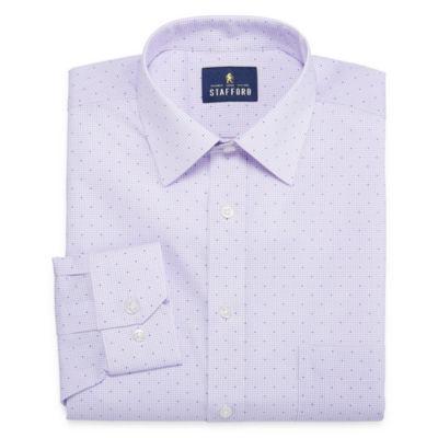 Stafford Travel Stretch Fashion Long Sleeve Broadcloth Grid Dress Shirt