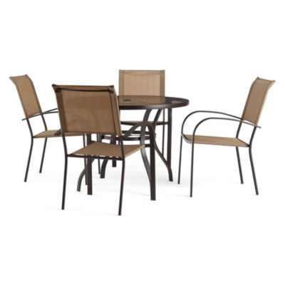 Outdoor Oasis Melbourne 5-pc. Round Glass Patio Dining Set with Tan Chairs