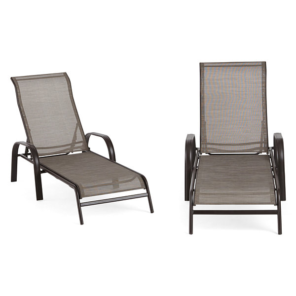 Outdoor Oasis Melbourne 2-pc. Sling Stackable Patio Lounge Chair ...