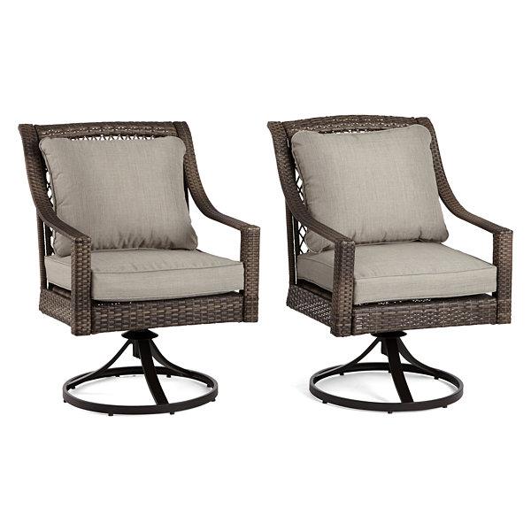 Lovely Outdoor Oasis Latigo Wicker 2 Pc. Swivel Patio Dining Chair