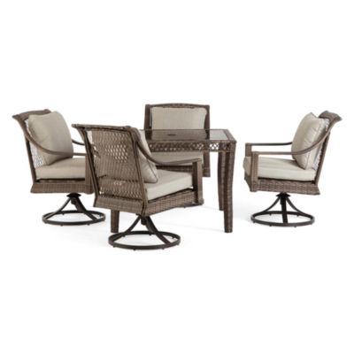 Outdoor Oasis Latigo Wicker 5-pc. Square Patio Dining Set with Swivel Chairs