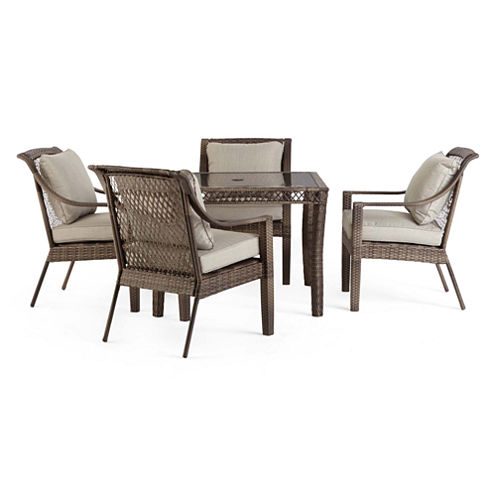5-pc Outdoor Oasis Latigo Wicker Square Patio Dining Set