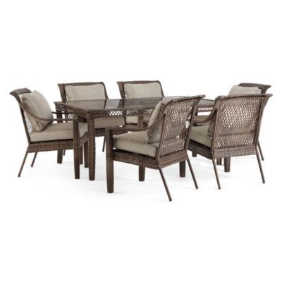 Outdoor Oasis Latigo Wicker 7-pc. Rectangular Patio Dining Set - JCPenney  sc 1 st  JCPenney & Outdoor Oasis Latigo Wicker 7-pc. Rectangular Patio Dining Set ...