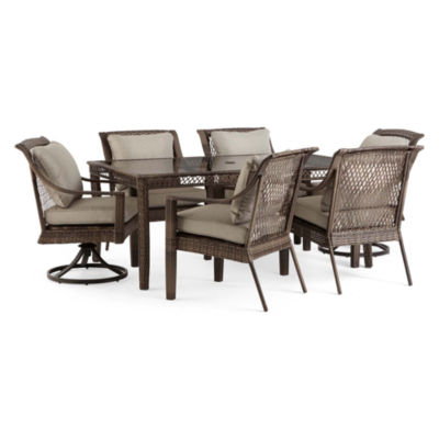 Outdoor Oasis Latigo Wicker 7-pc. Rectangular Patio Dining Set with Swivel Chairs