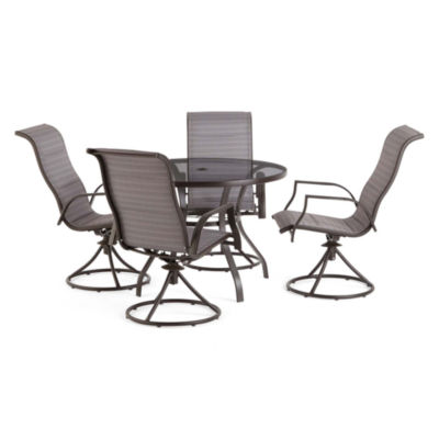 Outdoor Oasis Melbourne 5-pc. Round Glass Patio Dining Set with Swivel Chairs