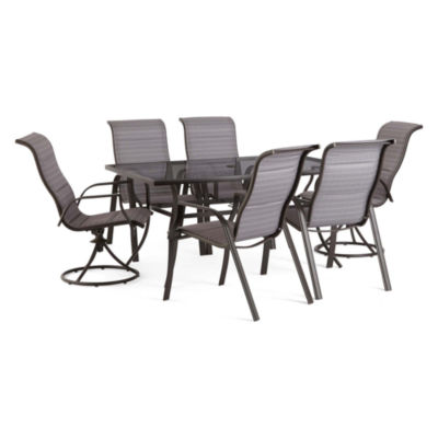Outdoor Oasis Melbourne 7-pc. Rectangular Glass Patio Dining Set with Swivel Chairs