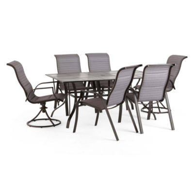 Outdoor Oasis Melbourne 7-pc. Rectangular Tile Patio Dining Set with Swivel Chairs