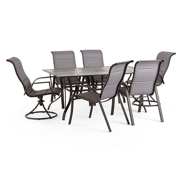 Outdoor Oasis Melbourne 7 Pc Rectangular Tile Patio Dining Set With Swivel Chairs