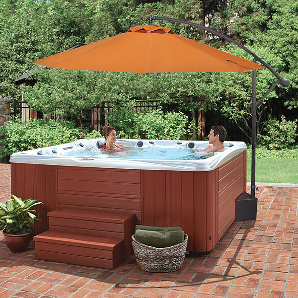 Island Umbrella Santiago 10-ft Octagonal Cantilever Spa Side Umbrella in Terra Cotta Olefin