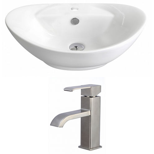 American Imaginations 23-in. W Above Counter WhiteVessel Set For 1 Hole Center Faucet - Faucet Included