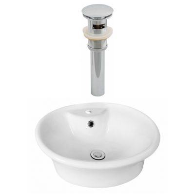 American Imaginations 19-in. W Above Counter White Vessel Set For 1 Hole Center Faucet