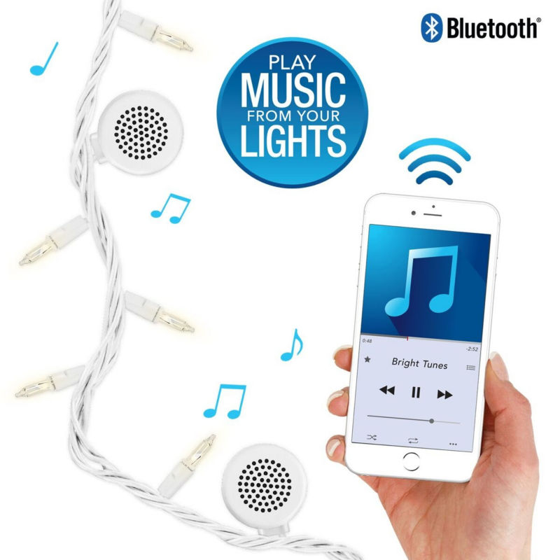 Bright Tunes Indoor/Outdoor Incandescent String Lights With Bluetooth Speakers - Unisex - Portable Audio - Adult - Unisex - Size One Size - White