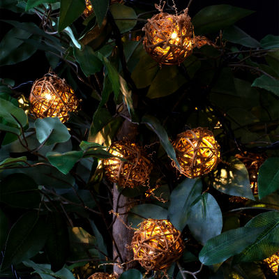 Bright Tunes Indoor/Outdoor Decorative Rattan Globe LED String Lights with Bluetooth Speakers