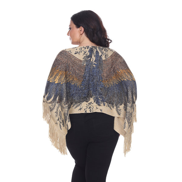 White Mark Eagle Wings Poncho - Plus