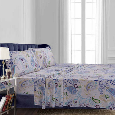 Tribeca Living Paisley Garden Flannel Sheet Set