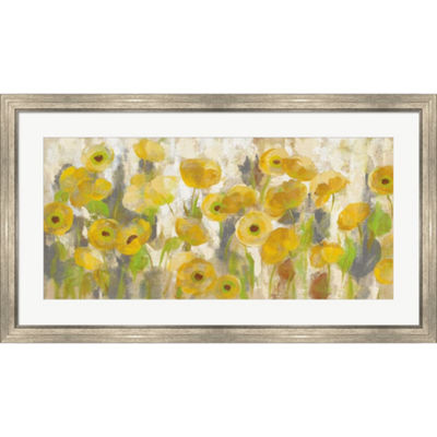Metaverse Art Floating Yellow Flowers I Framed Print Wall Art