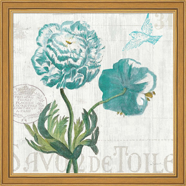 Floral Messages On Wood I Framed Print Wall Art