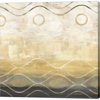 Abstract Waves Black/Gold II by Cynthia Coulter Gallery Wrapped Canvas Wall Art On Deep Stretch Bars