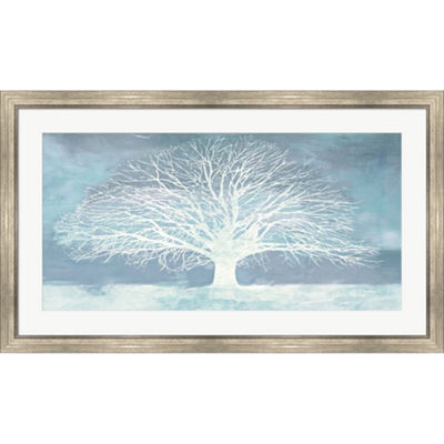 Metaverse Art Aquamarine Tree Framed Print Wall Art