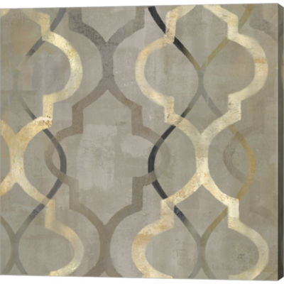 Abstract Waves Black/Gold Tiles III Gallery Wrapped Canvas Wall Art On Deep Stretch Bars