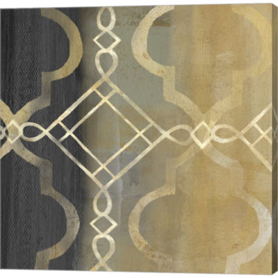 Abstract Waves Black/Gold Tiles IV Gallery WrappedCanvas Wall Art On Deep Stretch Bars