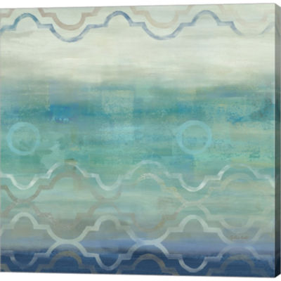 Metaverse Art Abstract Waves Blue/Gray I Gallery Wrapped Canvas Wall Art