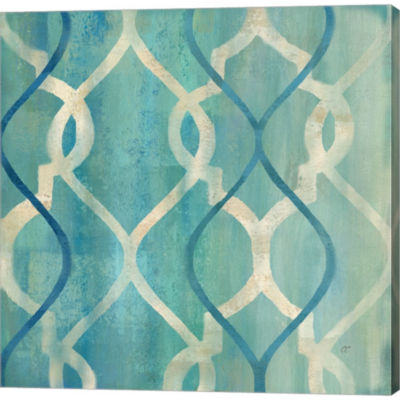 Abstract Waves Blue/Gray Tiles II Gallery WrappedCanvas Wall Art On Deep Stretch Bars