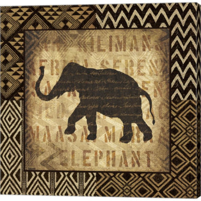 African Wild Elephant Border Gallery Wrapped Canvas Wall Art On Deep Stretch Bars