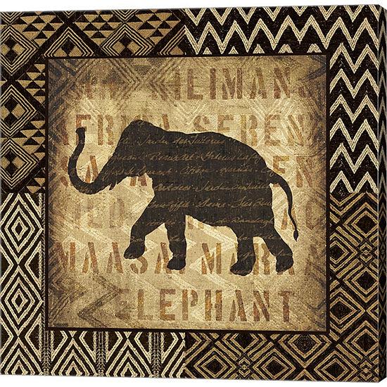 Metaverse Art African Wild Elephant Border GalleryWrapped Canvas Wall Art