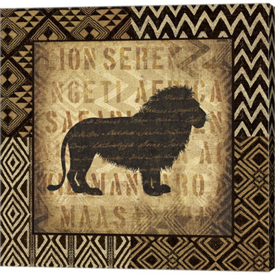 Metaverse Art African Wild Lion Border Gallery Wrapped Canvas Wall Art