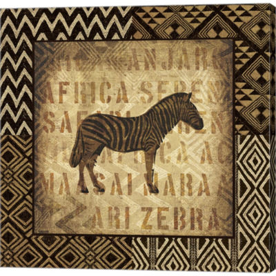 African Wild Zebra Border Gallery Wrapped Canvas Wall Art On Deep Stretch Bars