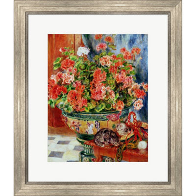 Metaverse Art Geraniums And Cats 1881 Framed PrintWall Art