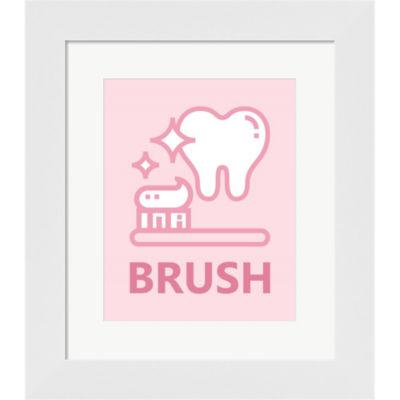 Metaverse Art Girl's Bathroom Task-Brush Framed Print Wall Art