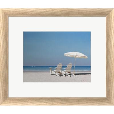 Metaverse Art Beach Day Framed Print Wall Art