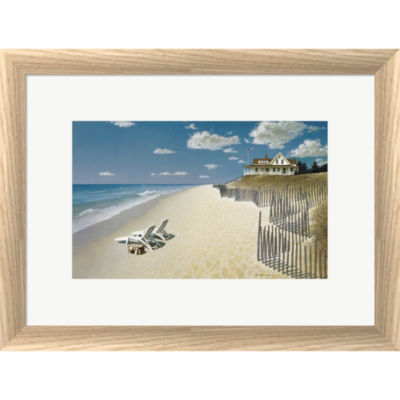 Metaverse Art Beach House View Framed Print Wall Art