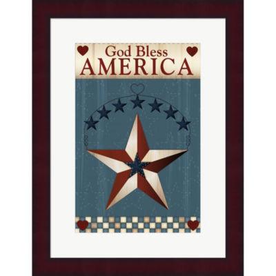 Metaverse Art God Bless America Star Framed PrintWall Art