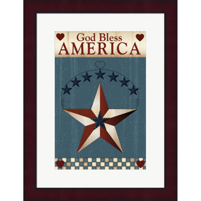 Metaverse Art God Bless America Star Framed PrintWall Art