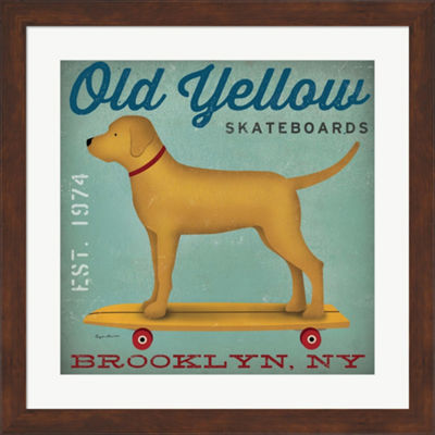 Metaverse Art Golden Dog On Skateboard Framed Print Wall Art