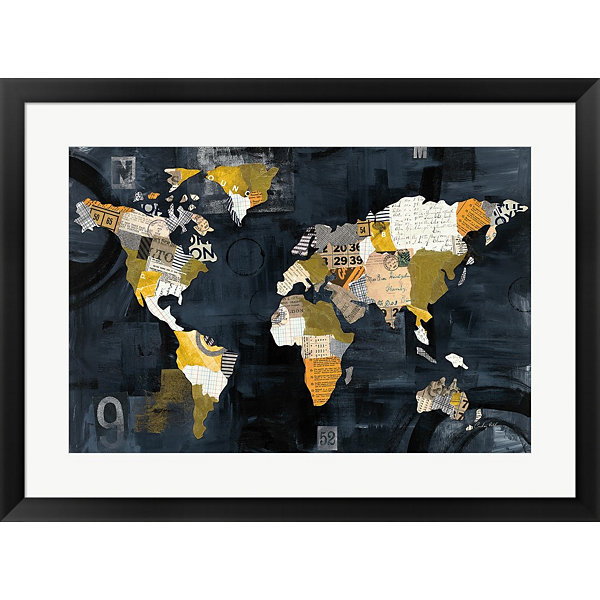 Metaverse Art Golden World Framed Print Wall Art